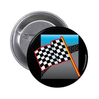 Bandera del coche de carreras pin redondo de 2 pulgadas