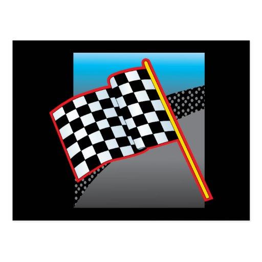 Bandera del coche de carreras postal