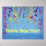 Bandera del confeti de la Feliz Año Nuevo y del cu Posters