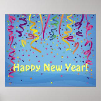 Bandera del confeti de la Feliz Año Nuevo y del cu Póster