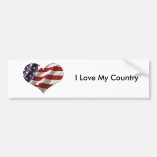 Bandera del corazón de Amercan Pegatina Para Auto