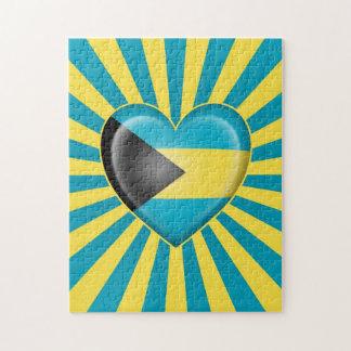Bandera del corazón de Bahamas con los rayos de Su Rompecabeza