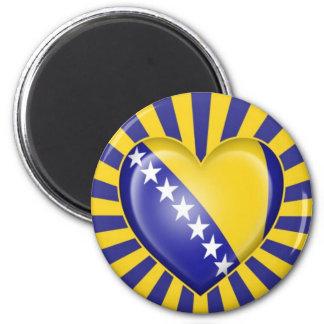 Bandera del corazón de Bosnia y Hercegovina con la Imán Redondo 5 Cm