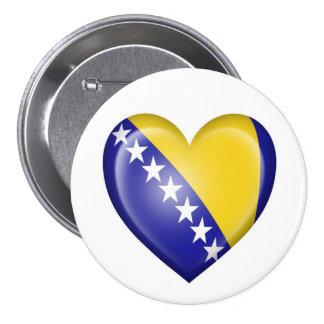 Bandera del corazón de Bosnia y Herzegovina en bla Pins