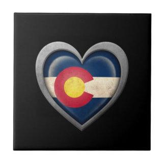 Bandera del corazón de Colorado con efecto del met Azulejo Cuadrado Pequeño