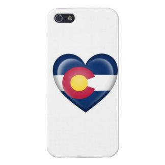 Bandera del corazón de Colorado en blanco iPhone 5 Carcasas