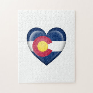 Bandera del corazón de Colorado en blanco Puzzles Con Fotos