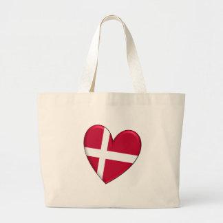 Bandera del corazón de Dinamarca Bolsa Lienzo
