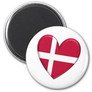 Bandera del corazón de Dinamarca Imán De Frigorifico