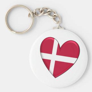 Bandera del corazón de Dinamarca Llaveros