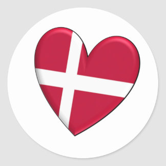Bandera del corazón de Dinamarca Pegatina Redonda