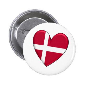 Bandera del corazón de Dinamarca Pins
