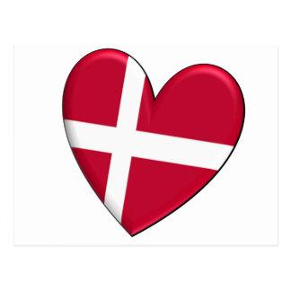 Bandera del corazón de Dinamarca Postal