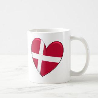 Bandera del corazón de Dinamarca Taza