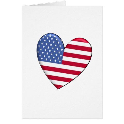 Bandera del corazón de Estados Unidos Tarjeton