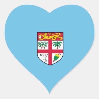 Bandera del corazón de Fiji/del Fijian Pegatina En Forma De Corazón