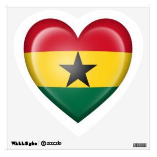 Bandera del corazón de Ghana en blanco Vinilo