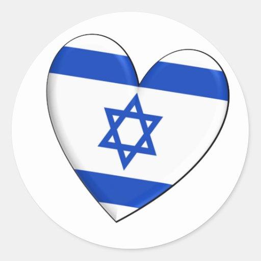 Bandera del corazón de Israel Etiquetas Redondas