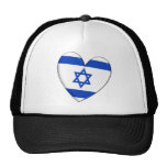 Bandera del corazón de Israel Gorras