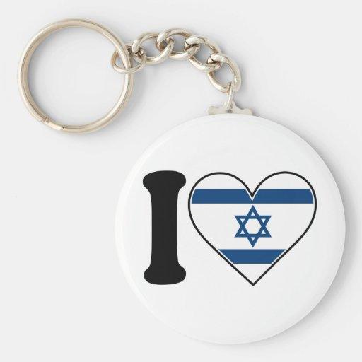 Bandera del corazón de Israel Llavero Redondo Tipo Pin