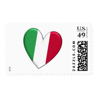 Bandera del corazón de Italia Sello Postal