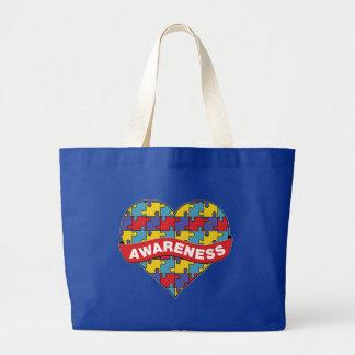Bandera del corazón de la conciencia del autismo bolsa tela grande