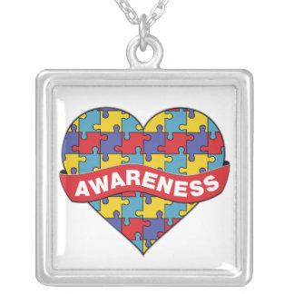 Bandera del corazón de la conciencia del autismo colgante cuadrado