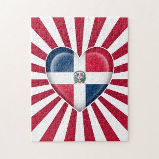 Bandera del corazón de la República Dominicana con Rompecabeza Con Fotos