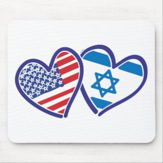 Bandera del corazón de los E.E.U.U. Israel Mouse Pad