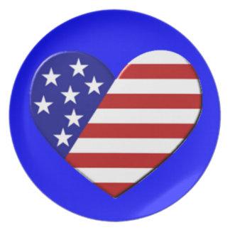 Bandera del corazón de los E.E.U.U. Platos
