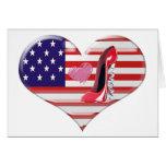 Bandera del corazón de los E.E.U.U. y zapato rojo Tarjeta