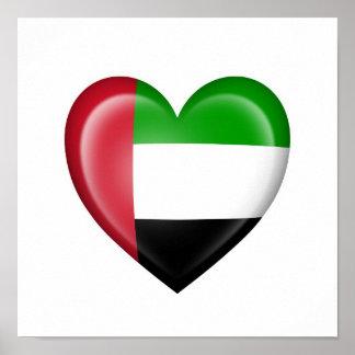 Bandera del corazón de los UAE en blanco Poster