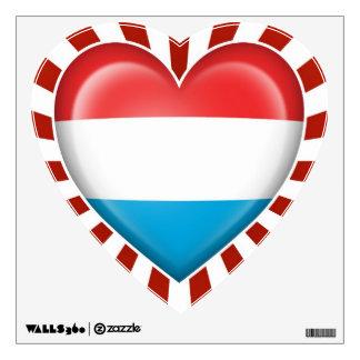 Bandera del corazón de Luxemburgo con los rayos de Vinilo Decorativo