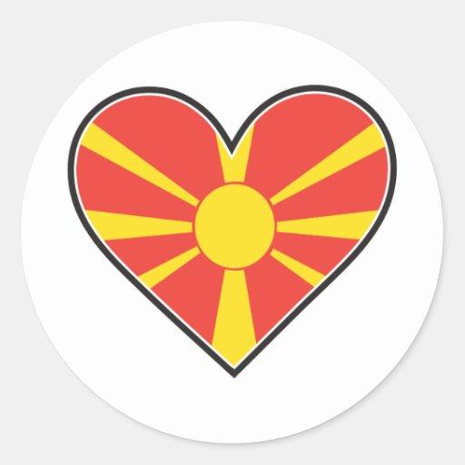 Bandera del corazón de Macedonia Pegatina Redonda