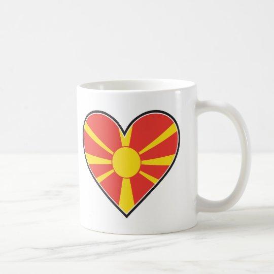 Bandera del corazón de Macedonia Taza De Café