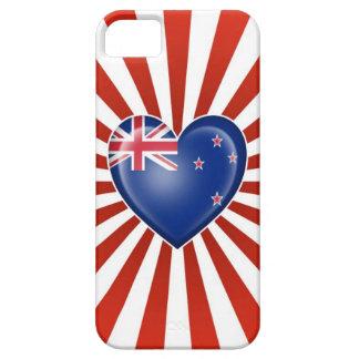 Bandera del corazón de Nueva Zelanda con la explos iPhone 5 Cárcasa