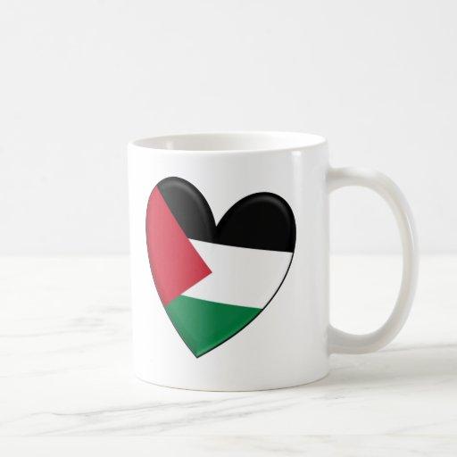 Bandera del corazón de Palestina Tazas