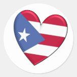 Bandera del corazón de Puerto Rico Pegatina Redonda