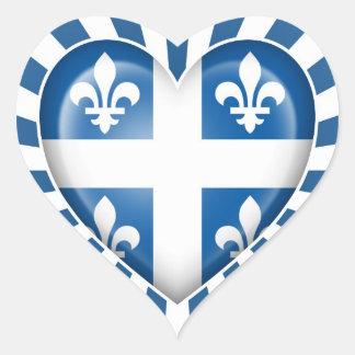 Bandera del corazón de Quebecois con la explosión Pegatinas Corazon