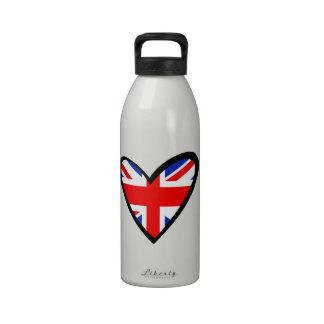 Bandera del corazón de Reino Unido Botella De Beber