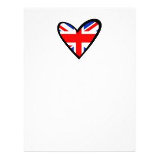 Bandera del corazón de Reino Unido Membretes Personalizados