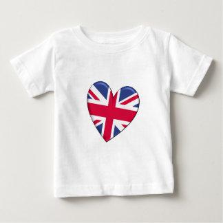 Bandera del corazón de Reino Unido Playera
