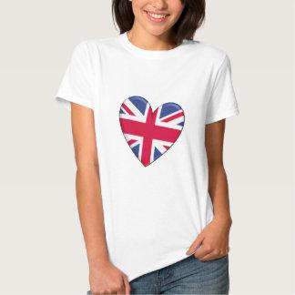 Bandera del corazón de Reino Unido Playeras