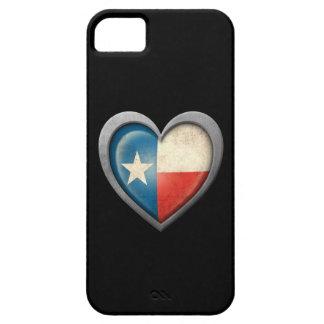 Bandera del corazón de Tejas con efecto del metal iPhone 5 Cárcasas