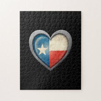Bandera del corazón de Tejas con efecto del metal Rompecabeza