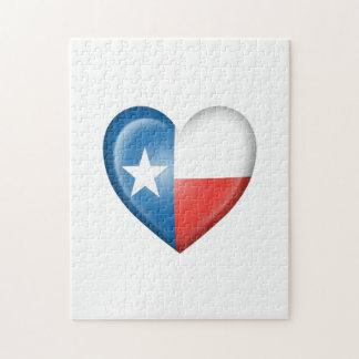 Bandera del corazón de Tejas en blanco Puzzles
