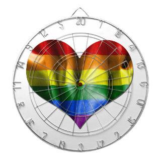 Bandera del corazón del amor del orgullo gay tabla dardos