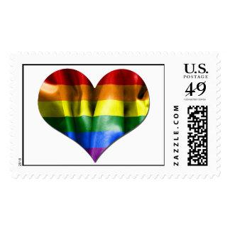 Bandera del corazón del amor del orgullo gay sello