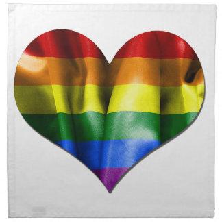Bandera del corazón del amor del orgullo gay servilleta