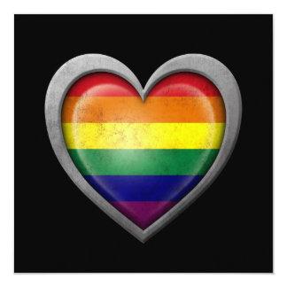 """Bandera del corazón del arco iris del orgullo gay invitación 5.25"""" x 5.25"""""""